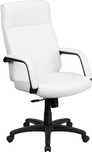Amazon Com Flash Furniture High Back White Leather Executive Swivel