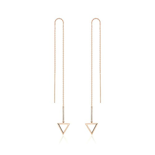 Aokarry Womens Triangle Drop Dangle Earrings Long Chain Tassle Earring Gold Plated (Soap Lotion Triangle)