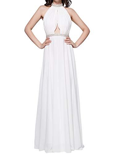 Bridal Beaded Halter Ocean Party Bess Blue Backless Dress Evening Womens Chiffon Long Prom fY4qd4