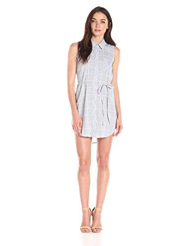 Womens Chambray Check Pattern with Blu White Button Off Pepper Blue White Down Dress Sleeveless 5xXpwA
