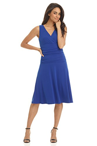 Rekucci Women's Slimming Sleeveless Fit-and-Flare Tummy Control Dress (14,Sapphire) (Ladies Dresses Casual)