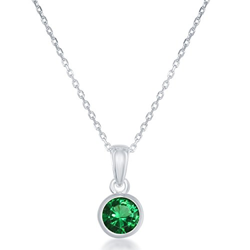 Emerald Set Jewelry Box - Sterling Silver May Created Emerald Bezel-set 6mm Pendant with 18