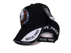 JumpingLight Chief Headdress Shadow Indian Native Pride Black Embroidered Ball Cap Hat for Home, Official Party, All Weather Indoors Outdoors