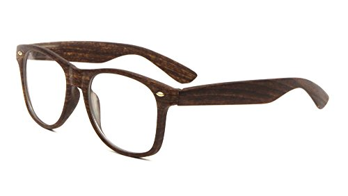 Unisex Retro Classic Glasses Wood Pattern Frame Clear Or Dark Lens (Espresso, - Wood Frames Glasses