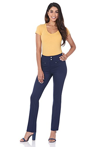 Rekucci Women's Secret Figure Pull-On Knit Straight Pant w/Tummy Control ()