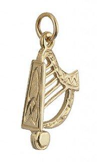 14K Irish Harp Pendant Only Gold Made in Ireland ()