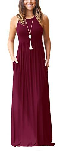 Dress Womens Long (KORSIS Women's Summer Casual Loose Sleeveless Racerback Long Maxi Swing Dresses Pockets Wine Red S)