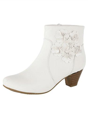Liva Loop Stiefelette mit Dekorativer Blütenapplikation Weiß