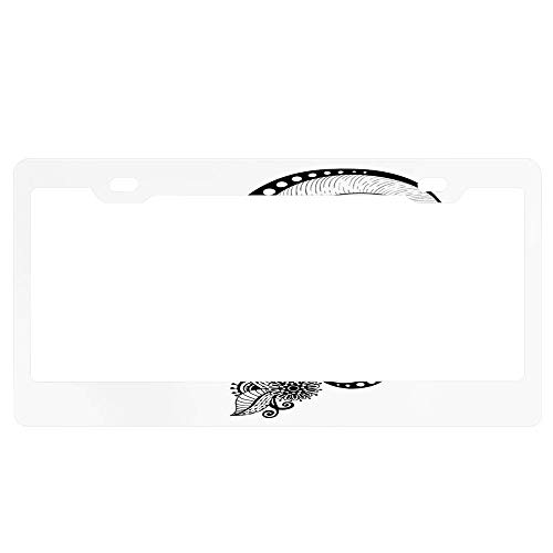 GqutiyulUCOOL Henna Mehndi Body Art Doodle Licenses Plates Frames Floral Car Licenses Plate Covers Holders for US Vehicles with Screws Caps