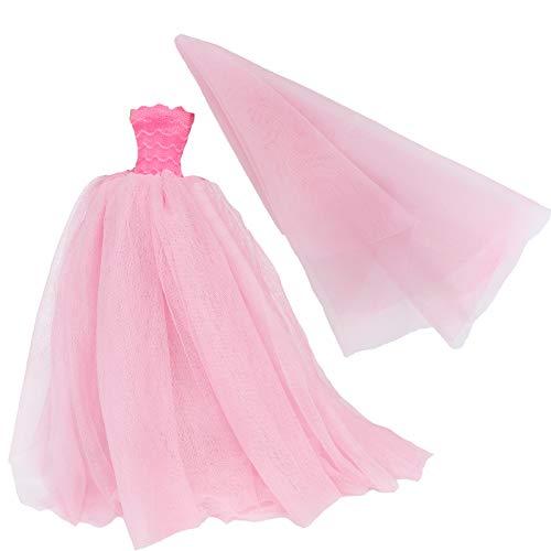 BJDBUS11.5 인치 소녀 인형 옷 베일을 가진 분홍색 끄는 결혼 예복