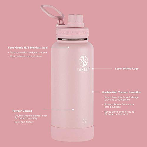 Takeya Actives Insulated Stainless Steel Water Bottle with Spout Lid, 18 oz, Blush