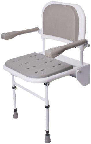 NRS Healthcare - Silla plegable para ducha (con patas, respaldo y reposabrazos acolchados)