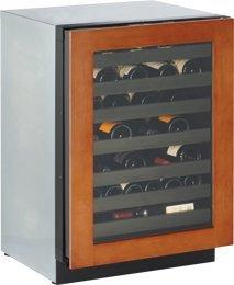 43 Bottle Dual Zone Wine Refrigerator Hinge Location: Right, Finish: Wood Overlay by Uline