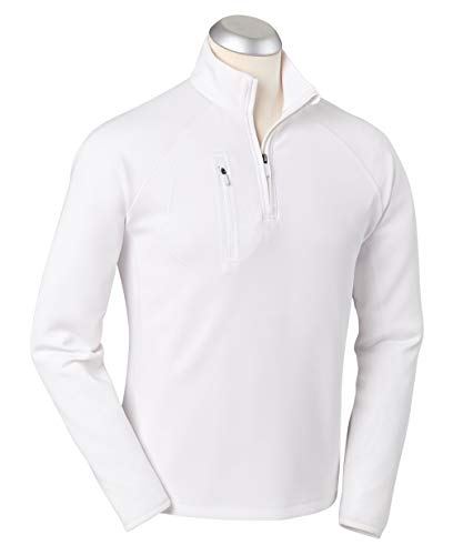 Jones Zip - Bobby Jones XH2O Crawford Performance Golf Pullover - Men's 1/4 Zip Pullover Golf Apparel White