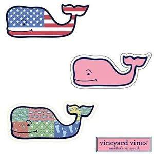 Vineyard Patch - 3X VINEYARD VINES Whale Vinyl Stickers - American Flag, Patchwork, Classic Pink - PREPPY 2.0 x 4.5