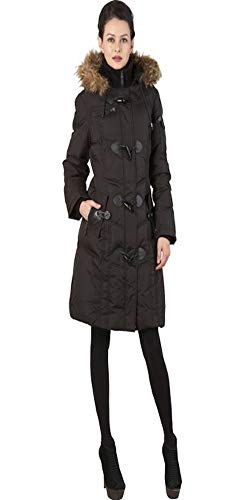 BGSD Women's Water Resistant Quilted Down Toggle Coat - Black XL -