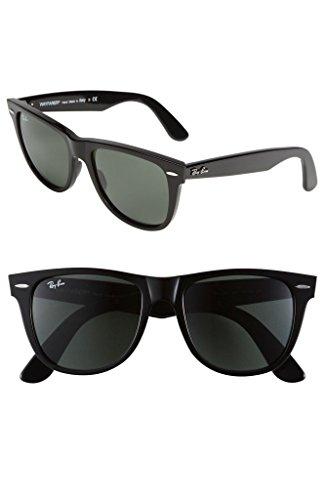 Ray-Ban Wayfarer Sunglasses,54mm,Black/Crystal Green