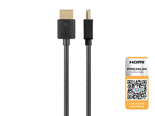 Monoprice High Speed HDMI Cable - 1 Feet - Black| Certified Premium, 4K@60Hz, HDR, 18Gbps, 36AWG, YUV, 4:4:4 - Ultra Slim Series