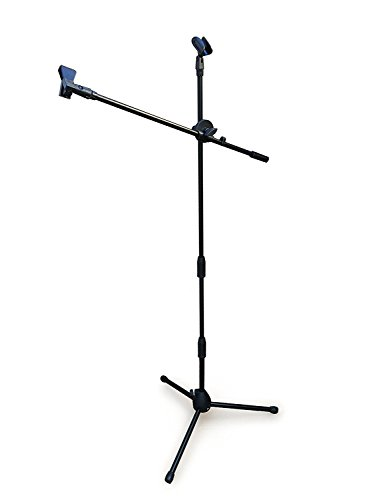 Tree New Bee Complete Set Microphone Suspension Boom Scissor Arm Stand with 6 inch Mic Round Wind Pop Filter Mask Shield and Black Shock Mount (TNB-ARM02), With Pop Filter and Shock Mount