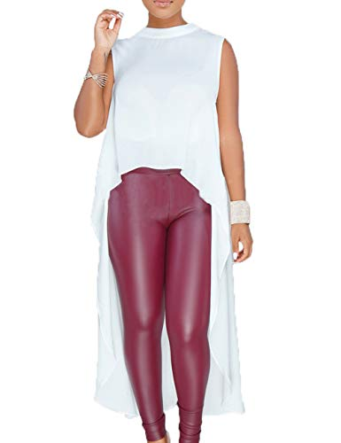 YouSexy Women's Tunic Tops Sleevless Dovetail Hem Chiffon Blouse T-Shirt Dress
