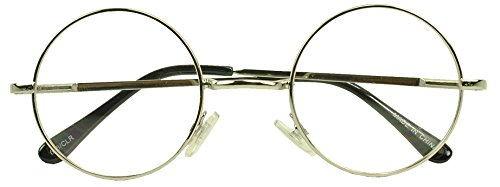 Sunglass Stop - Small Round Vintage Metal John Lennon Clear Lens Eye Glasses (Silver , Clear Lens - Girly Glasses