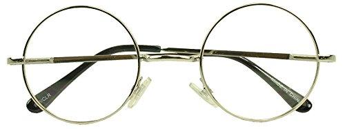 Sunglass Stop - Small Round Vintage Metal John Lennon Clear Lens Eye Glasses (Silver , Clear Lens - Vegas Sunglasses New