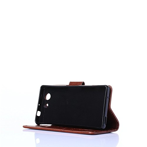 A9H Funda de PU cuero Resistente,Sony Xperia Z5 Compact (Z5 Mini) Ultra Slim PU Cuero Folding Stand Flip Funda Carcasa Caso,Leather Case Wallet Protector Card Holders-black 09 brown