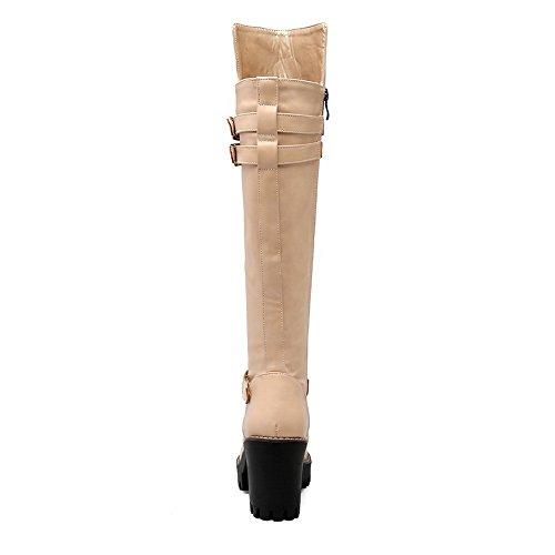 BalaMasa Womens Pull-On Solid Fashion Urethane Boots Apricot YfG4zOcvWr
