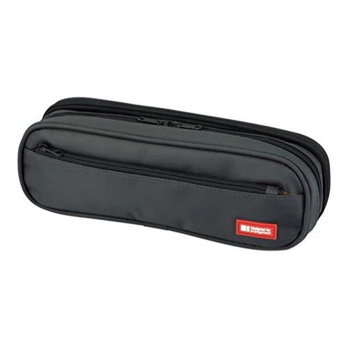 (LIHIT LAB. Double Zipper Pen Case, 9.4 x 2.4 x 3 inches, Black (A7557-24))