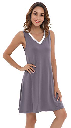 NEIWAI Womens Sleep Shirt Bamboo Nightgowns Sleepwear Dark Grey Silver M]()