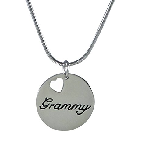 Grammy Stainless Steel Charm Necklace, 25mm with 18