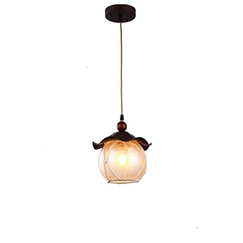 Xungzl Suspension Lumière en Métal en Bois Rétro Vintage Suspension Luminaire Rustique Île De Cuisine E27 Edison Plafond Réglable Suspension éclairage Lanterne