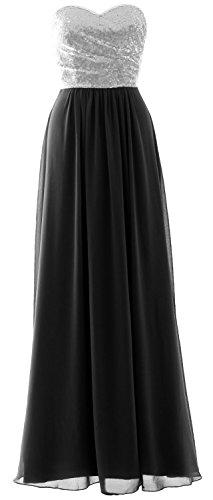 Black MACloth Bridesmaid Long Elegant Formal Strapless Party Sequin Silver Gown Dress Chiffon xwwtPq