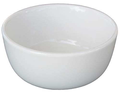 Cameo China White Ivory Ceramic Nappy Rice Bowls and Pan Scraper, 4.5 Inch, 10 Ounce, 4-Pack