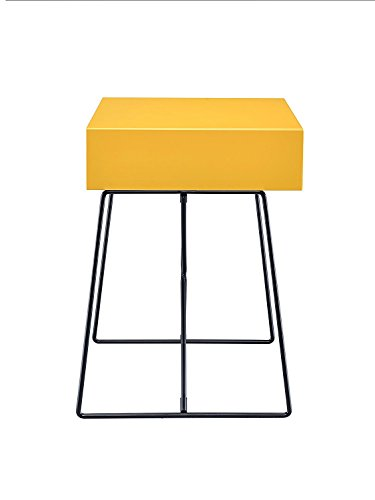 Major-Q Retro Styled Side Table with Metal Base for Bedroom/Living room/Game room, Yellow Finish 18 x 15 x 22 by Major-Q (Image #4)