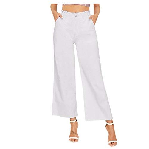 WDSTA Women Flare High Waist Jeans Button Drawstring Waist Bell Bottom Denim Pants (White,M)