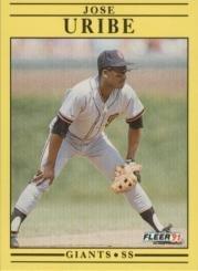 Amazoncom 1991 Fleer Baseball Card 275 Jose Uribe Collectibles