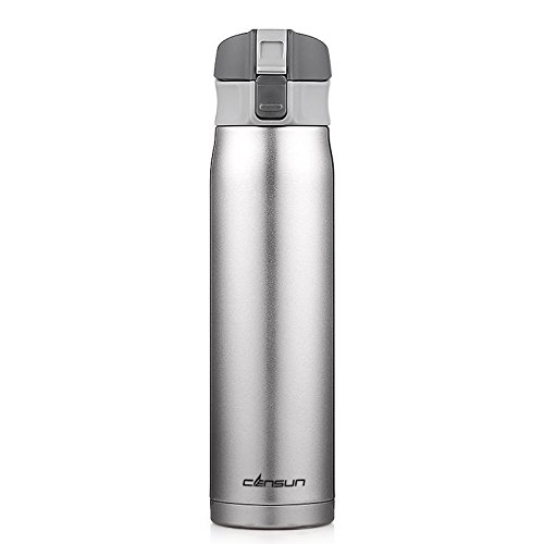 Silver Bottle Stainless Steel Travel Mug Coffee Mug Water Bottle 16Oz