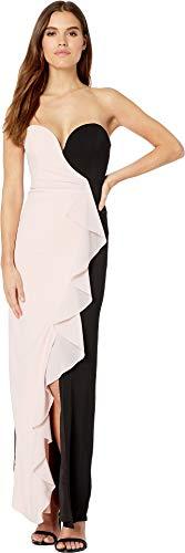 - Nicole Miller Women's Strapless Ruffle Gown Peach Daquari/Black 2