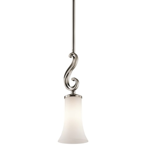 Kichler  42707CLP Wickham 1-Light  Mini-Pendant, Classic Pewter Finish with Satin Etched Cased Opal Glass