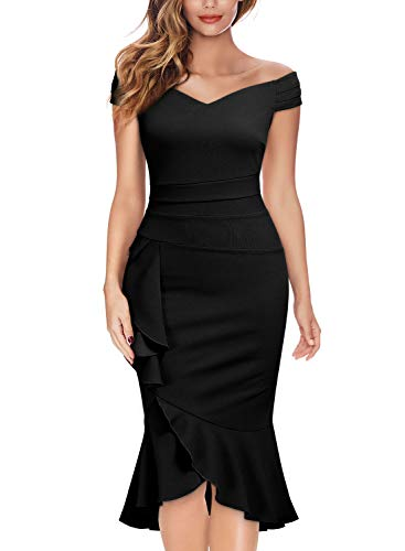 - Knitee Off Shoulder V-Neck Ruffle Pleat Waist Bodycon Evening Cocktail Slit Dress,Small,Black