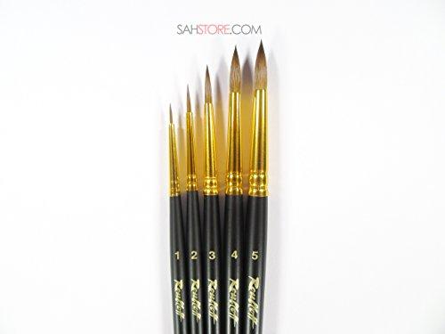 KOLINSKY SABLE PROFESSIONAL 5 Brush Set Black Matt Short Handle 1115 watercolour oil gouache acrylic Russian Roubloff (Kolinsky Sable Watercolour Brush)