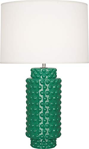 Robert Abbey EG800 Dolly - One Light Table Lamp, Emerald Glazed Finish with Fondine Fabric Shade