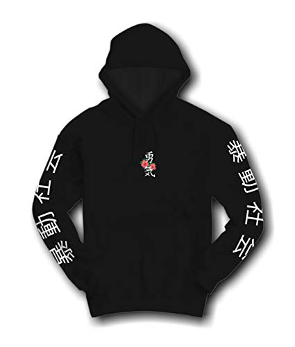 Riot Society Kanji Courage Embroidered Mens Hoodie - Black, X-Large