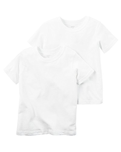 Carter's Boy`s Short Sleeve 2-Pack Cotton Undershirts (8, White (D31G017)/White/White)