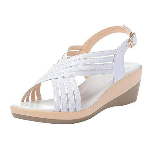 Bride À Uk Sandales 7 Talons Taille Pour Qiusa Compensés Beige Compensée coloré Blanc Et Femmes nXq5SxO4W
