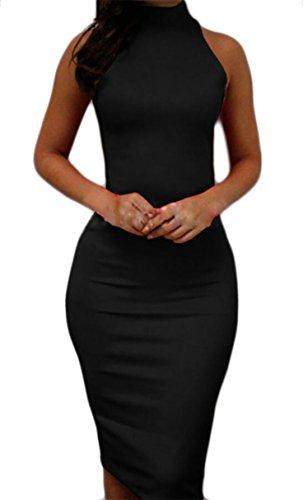 Sleeveless Halter Dress Midi Bodycon Jaycargogo Soild Women's Black Pencil 1gx4qAw7Wn
