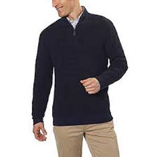 BELFORD Men's Cashmere Jacquard ¼ Zip Sweater (X-Large, Navy/Black)