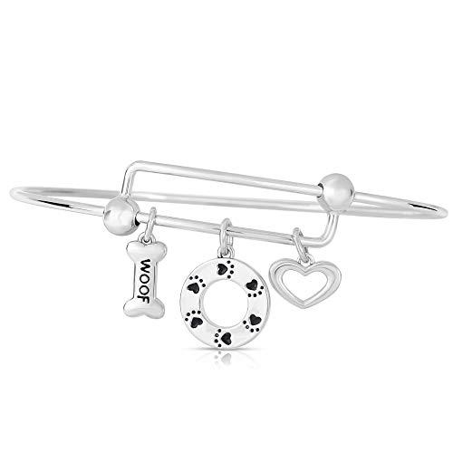 NATALIA DRAKE Expandable Inspirational Jewelry Women Charm Stackable Bracelet Lucky Charm Diamond Accent Bangle (WOOF)