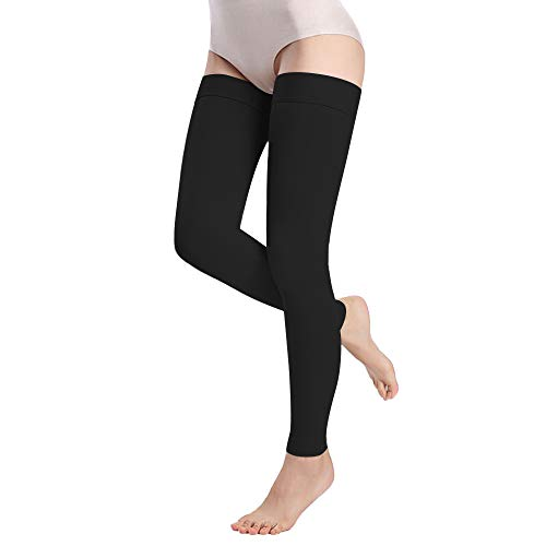 Medical Thigh High Compression Stockings for Women Men- Footless Firm Support 15-20 mmHg Gradient Compression Socks Support Hose for Treatment Swelling, Varicose Veins, Edema